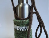 Mint Green and Chocolate Brown Water Bottle Carrier