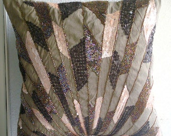 "Designer  Brown Throw Pillows Cover For Couch, Sequins & Beaded Sparkly Glitter Throw Pillows Cover Square  18""x18"" Silk - Glamorous Streaks"