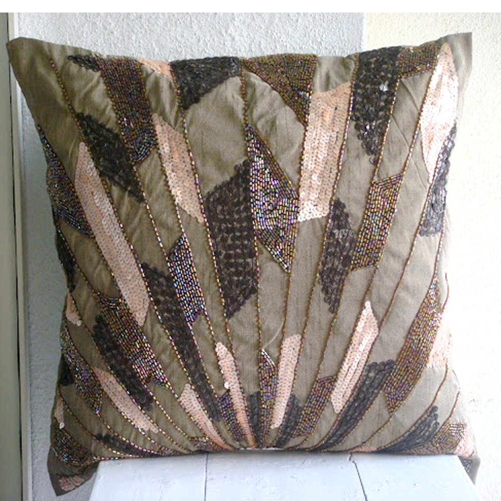 Brown throw pillows cover for couch square sequins beaded - Throw pillows for brown sofa ...
