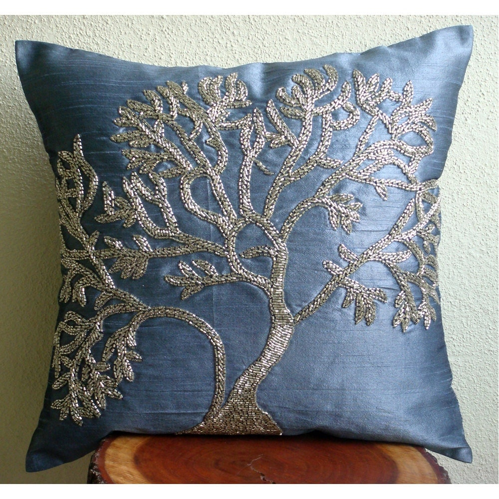 Blue Beaded Throw Pillow : Handmade Blue Pillows Cover Beaded Tree Decorative Pillows