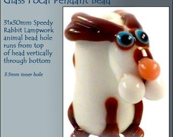 MERZIEs animal artisan made LAMPWORK glass FOCAL bunny RABBIT focal critter bead