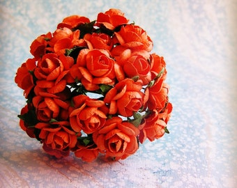 Orange rondelle Roses Vintage style Millinery Flower Bouquet - for decorating, gift wrapping, weddings, party supply, holiday