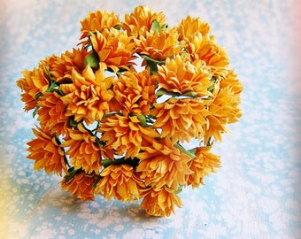 Persimmon orange Dahlias Vintage style Millinery Flower Bouquet - for decorating, gift wrapping, weddings, party supply, holiday