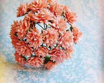 Blush Pink Dahlias Vintage style Millinery Flower Bouquet - for decorating, gift wrapping, weddings, party supply, holiday