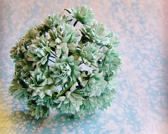 Aqua Dahlias Vintage style Millinery Flower Bouquet - for decorating, gift wrapping, weddings, party supply, holiday