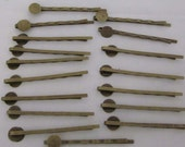 Antiqued Brass Bobby Pins 50mm Length with 8mm Pad  20 Pieces