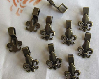 10 Pieces of Antiqued Brass Glue On Pendant Bail Findings