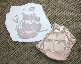 Pirate Ship Rubber Stamp Hand Carved