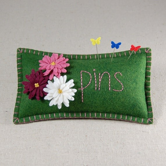 "Daisy Pincushion - White, Burgundy & Pink with ""pins"" Hand Embroidered on Green Wool Felt"