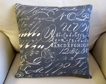 CALLIGRAPHY on slate cotton duck pillow cover