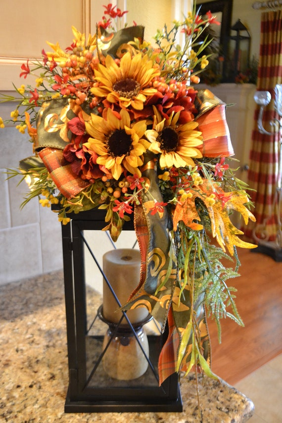 Yellow sunflower lantern swag Fall floral arrangements