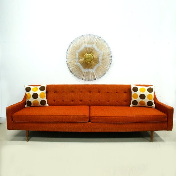 Mid Century Modern Pillows Etsy : Orange Sofa Mid Century Modern Free Shipping by TheModernHistoric