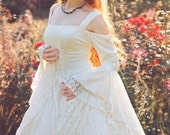 Gwendolyn Medieval or Renaissance Wedding Gown Velvet and Lace with Hoop