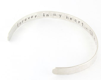 Memorial Secret Message Sterling Silver Cuff Bracelet - Personalized Custom Hand Stamped Loss Gift - Sympathy Gift
