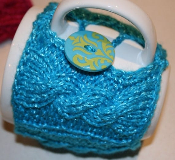 Bright Blue Knit Coffee or Tea Cup Cozy