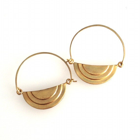 golden tiered half circle earrings by jenevierblaine on etsy