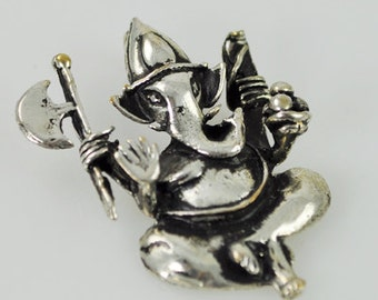 Sterling Silver Ganesh Pendant with Hidden Bale