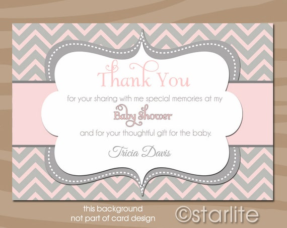 baby girl shower thank you card girl baby shower thank you card pink