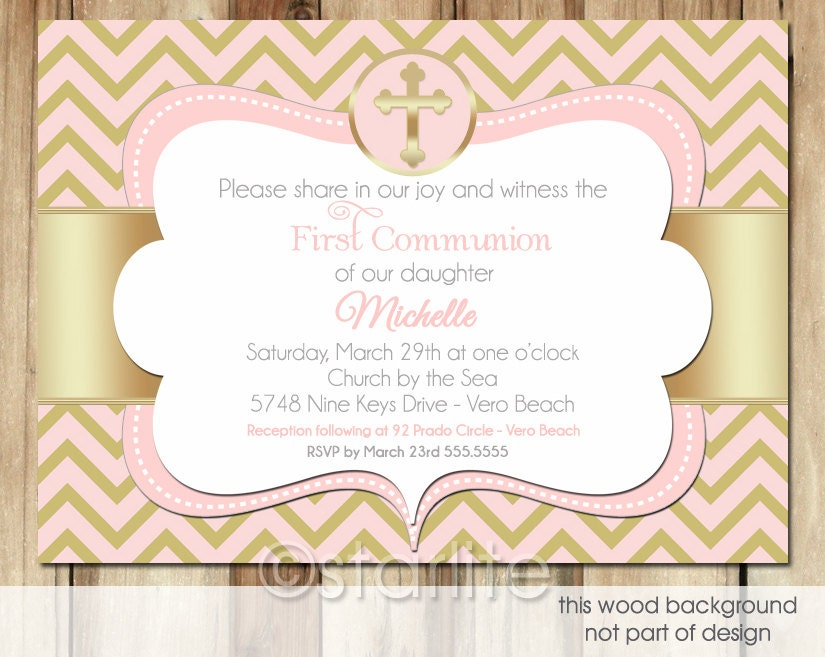 First Communion invitation 1st Communion Girl Chevron by ...