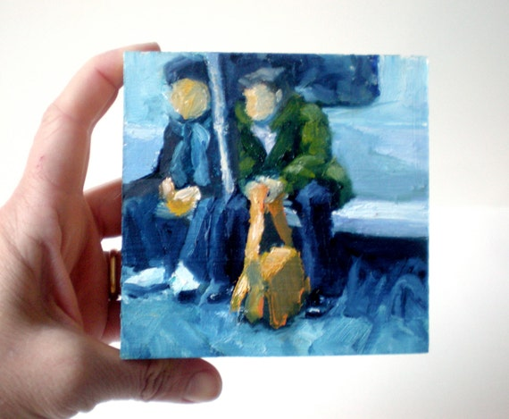 Art Oil Painting New York City Male Subway Riders