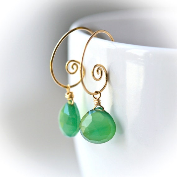 Evergreen Green Chalcedony - Gold Filled Wrapped Briolette Hoop Earrings
