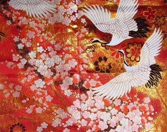 Vintage Japanese Kimono Uchikake Silk Back Panel with Cranes, Plum Blossom Branches, Chrysanthemum and Pine