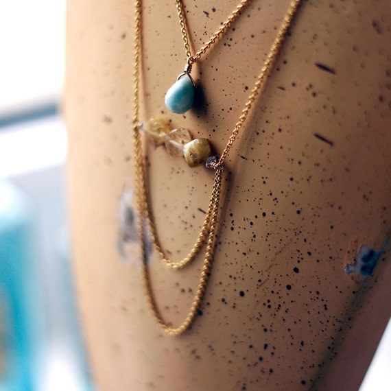 Statement Necklace. Golden Rutilated Quartz. Aquamarine. Gold Fill