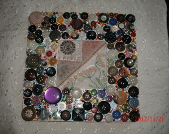 BUTTON EMBELLISHED FRAME  vintage crazy quilt insert  Mop buttons colorful stones and pearls Choose  from two Reduced