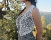 Crochet Lace Boho Vest XS