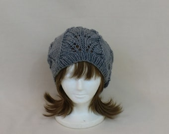 Slouchy Hat Grey, Baggy Lace Beanie, Hand Knit Hat Woman, Handmade Dread Tam Beret