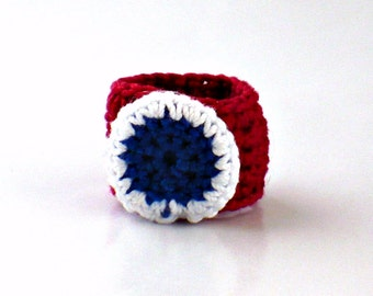 Crochet Ring Fiber Ring Americana Patriotic Red White and Blue 4th of July Ring
