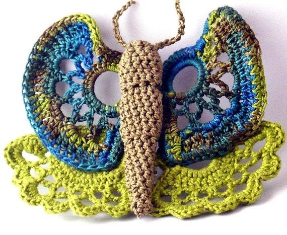 Crochet Brooch Fiber Brooch Irish Crochet Butterfly Pin Olive Chartreuse Green Dark Teal