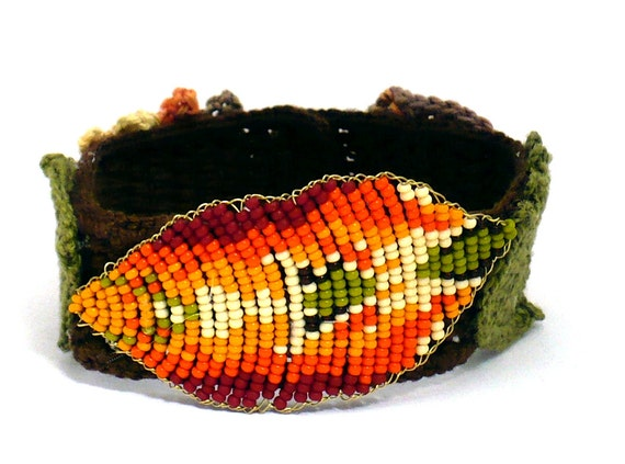 Irish Crochet Bracelet Fiber Bracelet  Beaded Leaf Brown Olive Orange Yellow