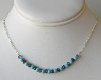 Amethyst and Turquoise Sterling Silver Necklace