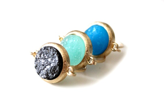 Druzy sea blue ring 14kt gold filled - custom size
