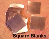 10 of 24 g Solid Copper Blanks, 1 inch Square, Great for stamping, charms and pendants