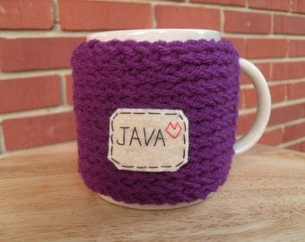 knitted mug cozy cup cozy in purple grape with java patch