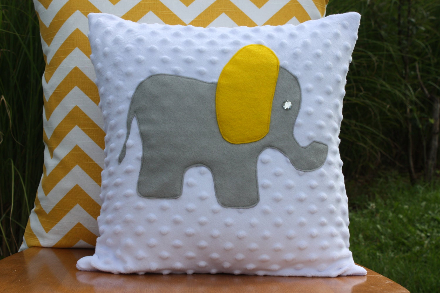 Grey And Yellow Elephant Pillow Cover