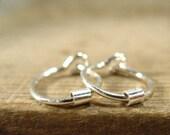 Hoop Earrings Silver Silver Tube Bead Sleeper Hoops/Beaded Hoops/Everyday Hoops/Tiny Hoop Earrings/Minimal Hoop Earrings/Dainty Hoop Earring