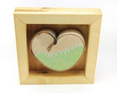 Beach grass / Alaska Series / Framed painted birch heart by Amy Komar