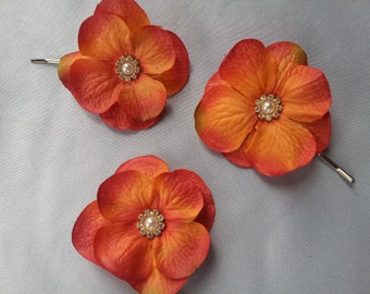 Coral Guava Hydrangea Bobby Pins Bridal Bobbie Pin Hydrangea Hair Clip Flower Girl Hair Pearl Rhinestone Accents Set of 3