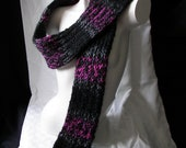 Pink and Black Knit Scarf