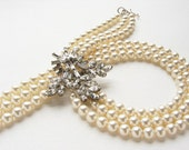 Vintage rhinestone brooch statement necklace, Vintage Brooch triple strand pearl bridal OOAK pearl rhinestone statement wedding jewelry