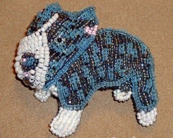 Blue-Nose PIT BULL Beaded Dog Pin Pendant Art Jewelry (Made to Order) (Made to Order) Free US Shipping