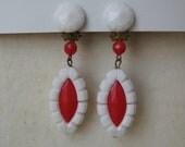 Red White Earrings Clip Dangle Plastic Vintage