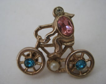Bicycle Brooch Gold Rhinestone Blue Pink Vintage Pin