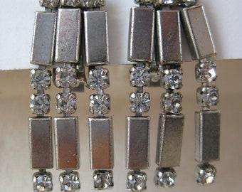 Silver Rhinestone Modern Earrings Clip Dangle Vintage