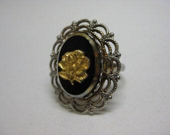 Rose Gold Flower Ring Filigree Silver Vintage Adjustable