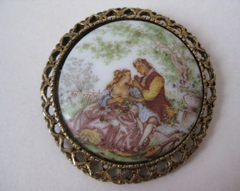 Victorian Woman Man Brooch Gold Vintage Pin