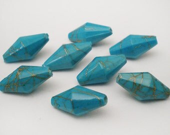 FINAL SALE - 20pcs Turquoise with Gold line Bicone acrylic beads 15x8mm